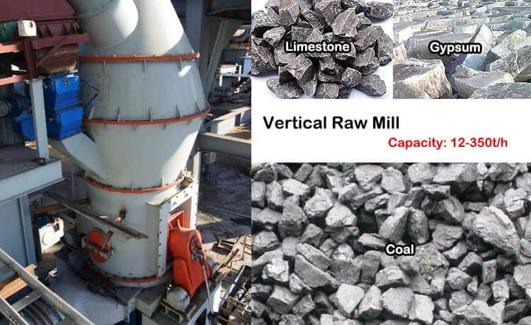 Vertical raw mill grinding materials